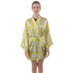 Skin5 White Marble & Yellow Watercolor (r) Long Sleeve Kimono Robe