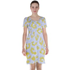 Skin5 White Marble & Yellow Watercolor Short Sleeve Nightdress by trendistuff