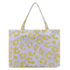 Skin5 White Marble & Yellow Watercolor Zipper Medium Tote Bag by trendistuff