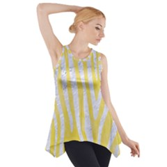 Skin4 White Marble & Yellow Watercolor (r) Side Drop Tank Tunic