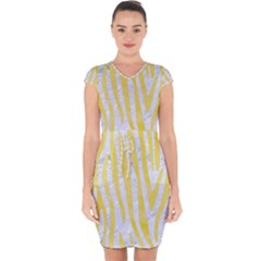 Skin4 White Marble & Yellow Watercolor Capsleeve Drawstring Dress