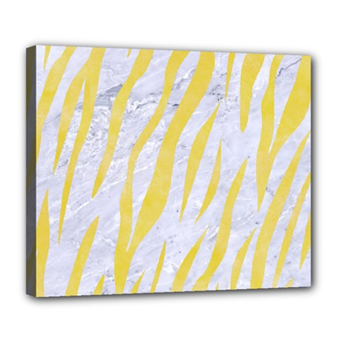 Skin3 White Marble & Yellow Watercolor (r) Deluxe Canvas 24  X 20   by trendistuff