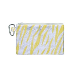 Skin3 White Marble & Yellow Watercolor (r) Canvas Cosmetic Bag (small) by trendistuff