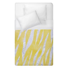 Skin3 White Marble & Yellow Watercolor Duvet Cover (single Size) by trendistuff