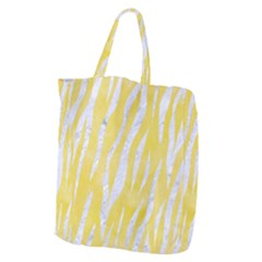 Skin3 White Marble & Yellow Watercolor Giant Grocery Zipper Tote by trendistuff