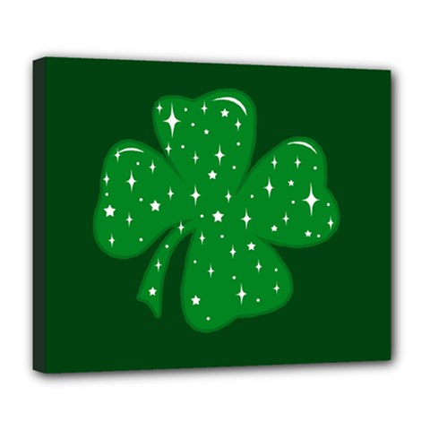 Sparkly Clover Deluxe Canvas 24  X 20   by Valentinaart