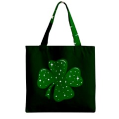 Sparkly Clover Grocery Tote Bag by Valentinaart