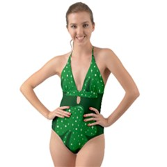 Sparkly Clover Halter Cut Out One Piece Swimsuit