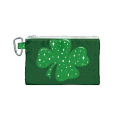 Sparkly Clover Canvas Cosmetic Bag (small)