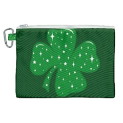 Sparkly Clover Canvas Cosmetic Bag (xl) by Valentinaart