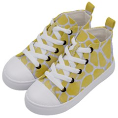 Skin1 White Marble & Yellow Watercolor (r) Kid s Mid Top Canvas Sneakers by trendistuff