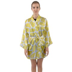 Skin1 White Marble & Yellow Watercolor (r) Long Sleeve Kimono Robe by trendistuff