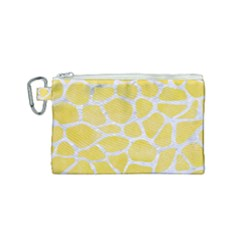 Skin1 White Marble & Yellow Watercolor (r) Canvas Cosmetic Bag (small) by trendistuff
