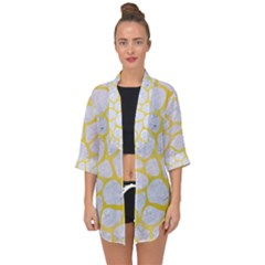 Skin1 White Marble & Yellow Watercolor Open Front Chiffon Kimono by trendistuff