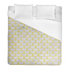 Scales3 White Marble & Yellow Watercolor (r) Duvet Cover (full/ Double Size) by trendistuff