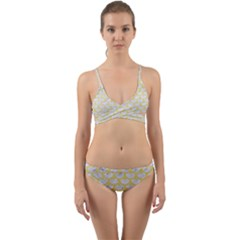 Scales3 White Marble & Yellow Watercolor (r) Wrap Around Bikini Set