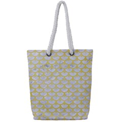 Scales3 White Marble & Yellow Watercolor (r) Full Print Rope Handle Tote (small) by trendistuff