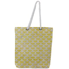 Scales3 White Marble & Yellow Watercolor Full Print Rope Handle Tote (large) by trendistuff