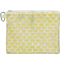 Scales3 White Marble & Yellow Watercolor Canvas Cosmetic Bag (xxxl) by trendistuff
