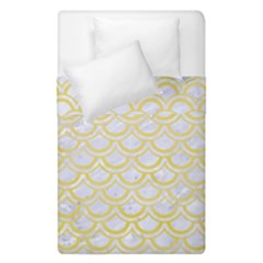 Scales2 White Marble & Yellow Watercolor (r)scales2 White Marble & Yellow Watercolor (r) Duvet Cover Double Side (single Size) by trendistuff