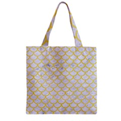 Scales1 White Marble & Yellow Watercolor (r) Zipper Grocery Tote Bag by trendistuff