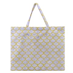 Scales1 White Marble & Yellow Watercolor (r) Zipper Large Tote Bag by trendistuff
