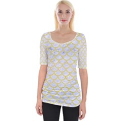 Scales1 White Marble & Yellow Watercolor (r) Wide Neckline Tee