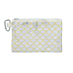 Scales1 White Marble & Yellow Watercolor (r) Canvas Cosmetic Bag (medium) by trendistuff