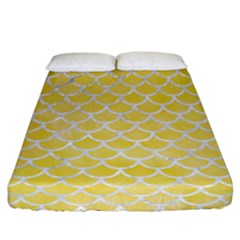 Scales1 White Marble & Yellow Watercolor Fitted Sheet (california King Size) by trendistuff