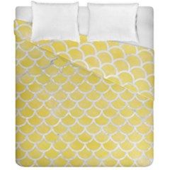 Scales1 White Marble & Yellow Watercolor Duvet Cover Double Side (california King Size) by trendistuff