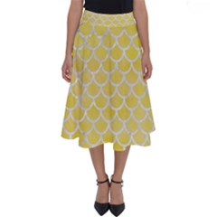 Scales1 White Marble & Yellow Watercolor Perfect Length Midi Skirt by trendistuff