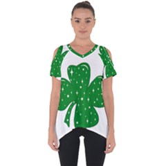 Sparkly Clover Cut Out Side Drop Tee