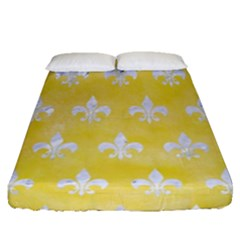 Royal1 White Marble & Yellow Watercolor (r) Fitted Sheet (queen Size) by trendistuff