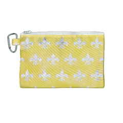 Royal1 White Marble & Yellow Watercolor (r) Canvas Cosmetic Bag (medium) by trendistuff