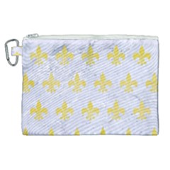 Royal1 White Marble & Yellow Watercolor Canvas Cosmetic Bag (xl)
