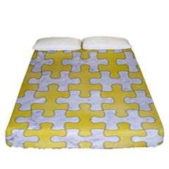 Puzzle1 White Marble & Yellow Watercolor Fitted Sheet (queen Size) by trendistuff