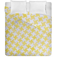 Houndstooth2 White Marble & Yellow Watercolor Duvet Cover Double Side (california King Size) by trendistuff