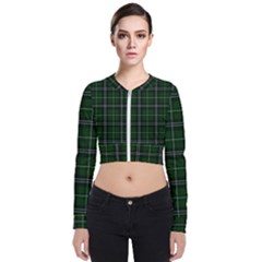 Green Plaid Pattern Bomber Jacket