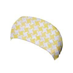 Houndstooth2 White Marble & Yellow Watercolor Yoga Headband