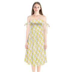 Houndstooth2 White Marble & Yellow Watercolor Shoulder Tie Bardot Midi Dress by trendistuff