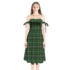 Green Plaid Pattern Shoulder Tie Bardot Midi Dress by Valentinaart