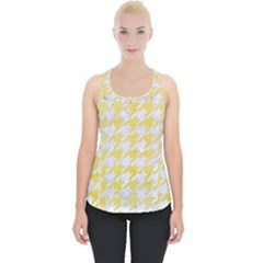 Houndstooth1 White Marble & Yellow Watercolor Piece Up Tank Top