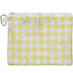 Houndstooth1 White Marble & Yellow Watercolor Canvas Cosmetic Bag (xxxl) by trendistuff