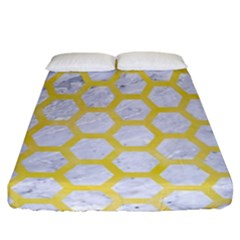 Hexagon2 White Marble & Yellow Watercolor (r) Fitted Sheet (california King Size) by trendistuff