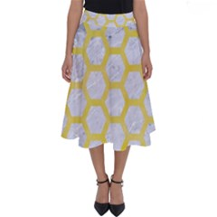 Hexagon2 White Marble & Yellow Watercolor (r) Perfect Length Midi Skirt by trendistuff