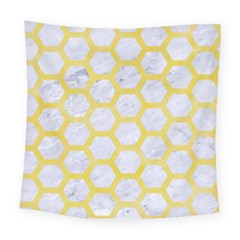 Hexagon2 White Marble & Yellow Watercolor (r) Square Tapestry (large)