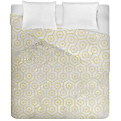 Hexagon1 White Marble & Yellow Watercolor (r) Duvet Cover Double Side (california King Size) by trendistuff
