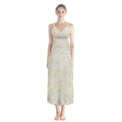 Hexagon1 White Marble & Yellow Watercolor (r) Button Up Chiffon Maxi Dress