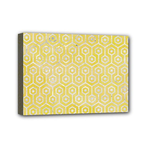 Hexagon1 White Marble & Yellow Watercolor Mini Canvas 7  X 5  by trendistuff