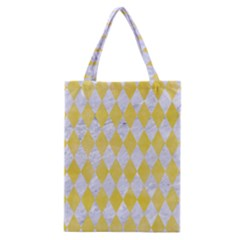 Diamond1 White Marble & Yellow Watercolor Classic Tote Bag by trendistuff